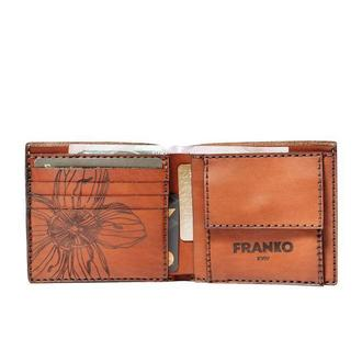 Коричневе портмоне Franko Nata flowers brown Medium Coin wallet з кишенею для копійок