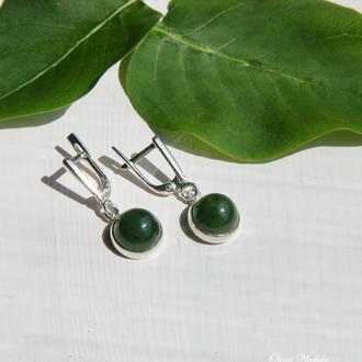 Серебряные серьги с нефритом, сережки с зеленым камнем, подарок
