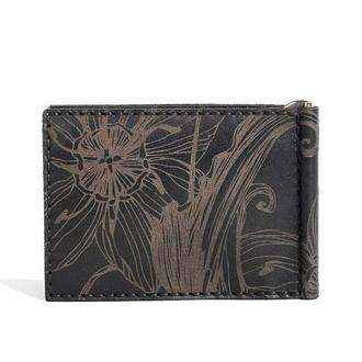 Чорне портмоне Franko Nata flowers black Small Money clip wallet із зажимом для грошей