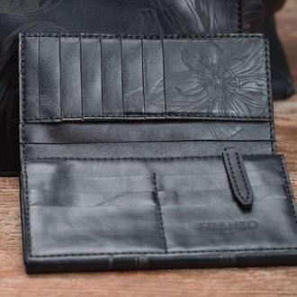 Жіноче чорне велике шкіряне портмоне Franko Nata flowers black Big Zippy wallet на блискавці