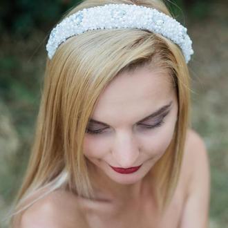 Набор свадебных украшений ободок + сережки из хрустальных бусин