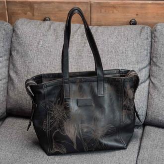 Шкіряна чорна сумка тоте Franko Nata flowers black Tote