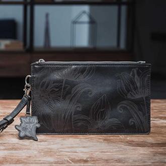Черный кожаный клатч Franko Nata flowers black Clutch