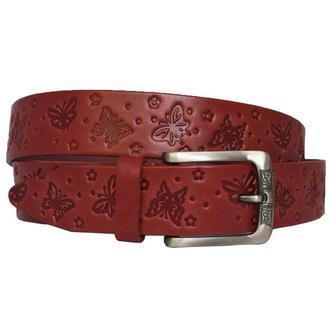 Butterfly ремень женский кожаный красный с тиснением