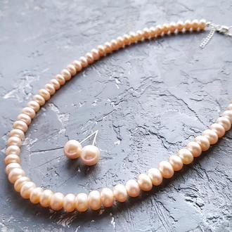 Намисто і сережки з натуральними перлами та срібними застібками