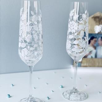 свадебные бокалы кружевные розы