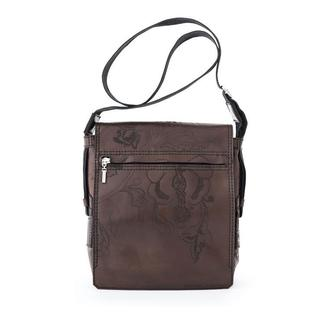 Сумка через плече Franko Kozak flowers brown Messenger bag з натуральної шкіри