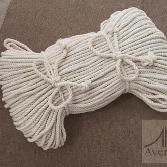 Мотузка бавовняна крученная 5мм - 50 метрів, бавовняний шнур для макраме 5 мм