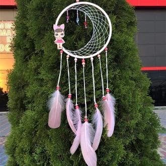 Розовый ловец снов, ловец снов для девочки, ловец снов для детской, ловец