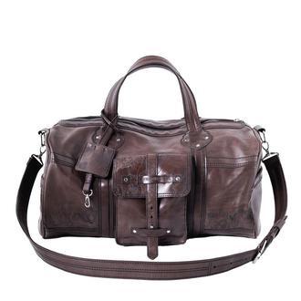 Кожаная спортивная сумка Franko Kozak flowers brown Road bag на молнии