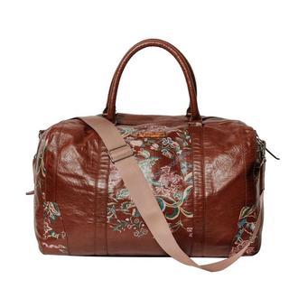 Шкіряна спортивна сумка Franko Flowers pattern brown Road bag з прінтом