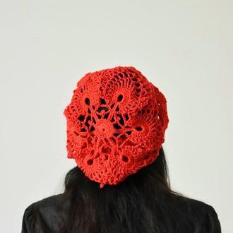 Шапка женская летняя Красная шапочка Ажурный летний красный берет  Летняя вязаная красная  шапка бер