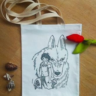 Сумка шоппер с рисунком аниме, экосумка с волком