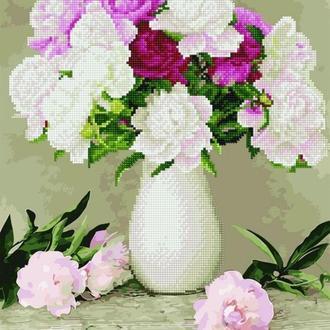 Алмазная картина-раскраска 40x50 Пионы в белой вазе (GZS1091) Код: 0096-1631