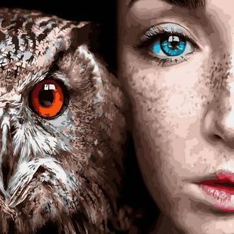 Картина по номерам 40x50 Девушка и сова (GX30916) Код: 0096-1550