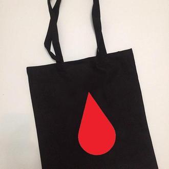 Вышитый шоппер Кровосток красный чёрный белый экосумка экоторба