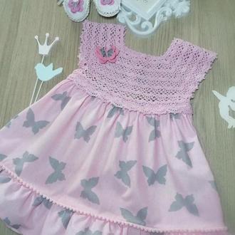 """Модное летнее платье """"Бабочки"""" для маленьких принцесс 6-18 месяцев"""