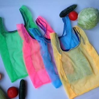 """Эко пакет """"маечка"""" из сетки, эко мешок для покупок, еко торбинка zero weste"""