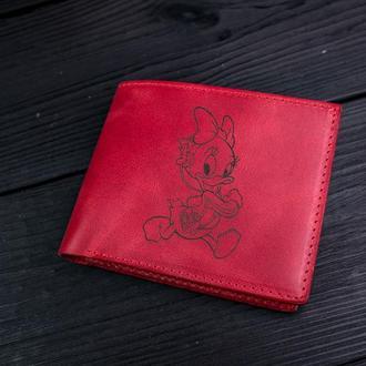 Компактный кошелек с гравіванням / Cartoon / Красный