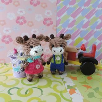Бычок Фред и коровка Молли вязаные игрушки