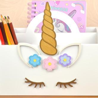 Карандашница подставка для ручек канцелярии из дерева настольная, органайзер Единорог для девочки