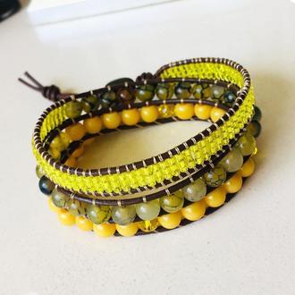 """Кожаный браслет обмотка в стиле Chan Luu с агатом """"Вены дракона"""""""