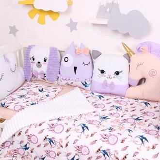 Комплект в кроватку с игрушками в Фиолетовых тонах