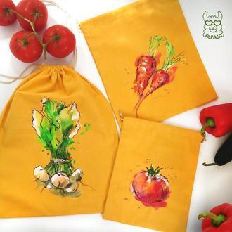 Эко мешочки, хлопок, эко торба, мешочки для покупок, роспись по ткани.
