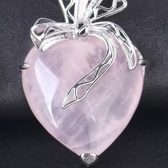 """Кулон """" Сердце"""" натуральный, розовый кварц"""