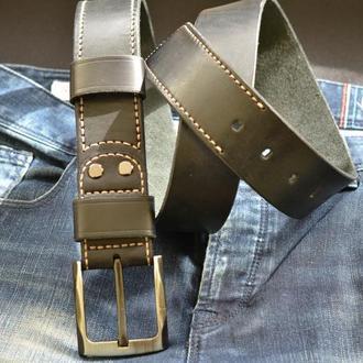 Кожаный мужской ремень, 45 мм, Black CAT