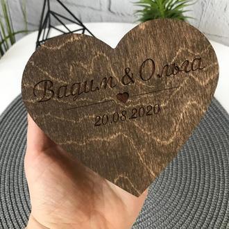 Деревянная шкатулка для обручальных колец с наполнением