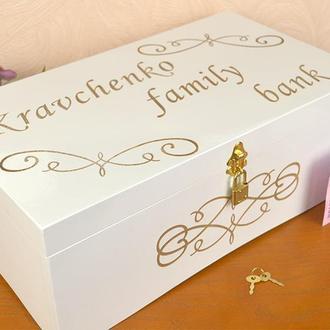 Шкатулка для денег семейный бюджет/банк с отделениями деревяная с замочком сундучок