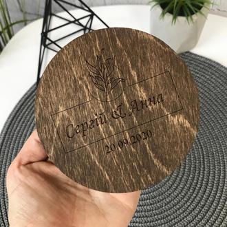 Деревянная коробочка для обручальных колец с мхом