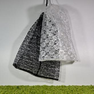 Набор гипюровых мешочков чёрно-белый