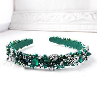 Изумрудно зеленый обруч со стразами, Тиара для невесты, Ободок на выпускной