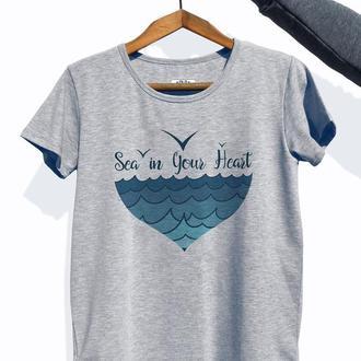 """Женская футболка с авторским принтом """"Sea in your heart"""""""