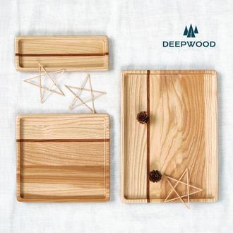 Комплект з трьох тарілок, деревянная посуда