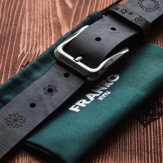 Черный ремень Franko Trypillya Big black belt из ременной кожи быка
