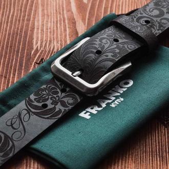 Черный ремень Franko Petrykivka Big black belt из ременной кожи быка