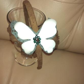 Ободок с бабочкой кожаный