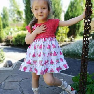 """Модное летнее платье """"Арбузик"""" для девочки 2-3 года"""