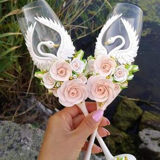 """Свадебные бокалы """" Лебеди """" в цвете айвори и золото"""