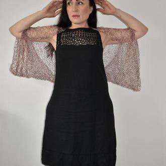 Эффективный безразмерный шраг Болеро вязаное бардовый меланж с белым Легкий воздушный летний  шраг