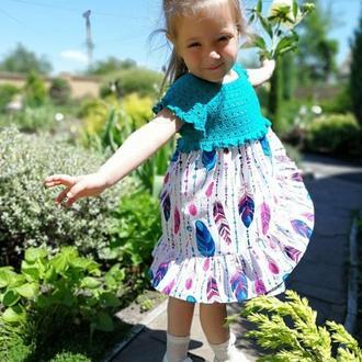 """Модное летнее платье """"Перья"""" для девочки 3-4 года"""