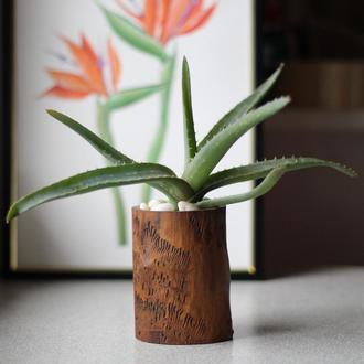 Вазонок из дерева с фактурой.Ясень. Оригинальный декор в дом.Подарок девушке