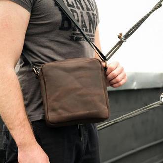 Мужская кожаная сумка через плечо с двумя отделениями