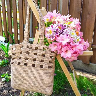Сумка шопер, авоська на пляж, пляжная сумка, вязаная сумка, большая авоська, бежевая сумка шопер