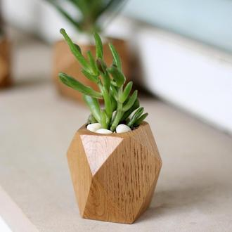 Деревянный вазон из дерева дуба.Лак.Подарок девушке.Декор в интерьер.Подарок маме.Суккуленты
