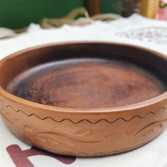 """Тарелка глиняная гончарная """"Кеци""""."""