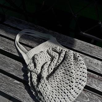 Хлопковая вязаная сумка- торба